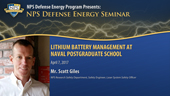 Lithium Battery Management at Naval Postgraduate School