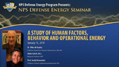 A Study of Human Factors, Behavior and Operational Energy