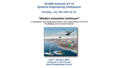 SE3000 Summer AY 14 Systems Engineering Colloquium