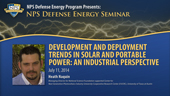 Development and Deployment Trends in Solar and Portable Power: An Industrial Perspective