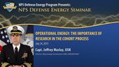 Operational Energy: The Importance of Research in the Cohort Process