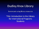 An Introduction to the Library for International Students