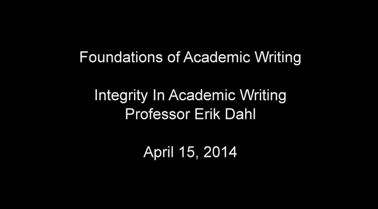 Integrity in Academic Writing April 2014