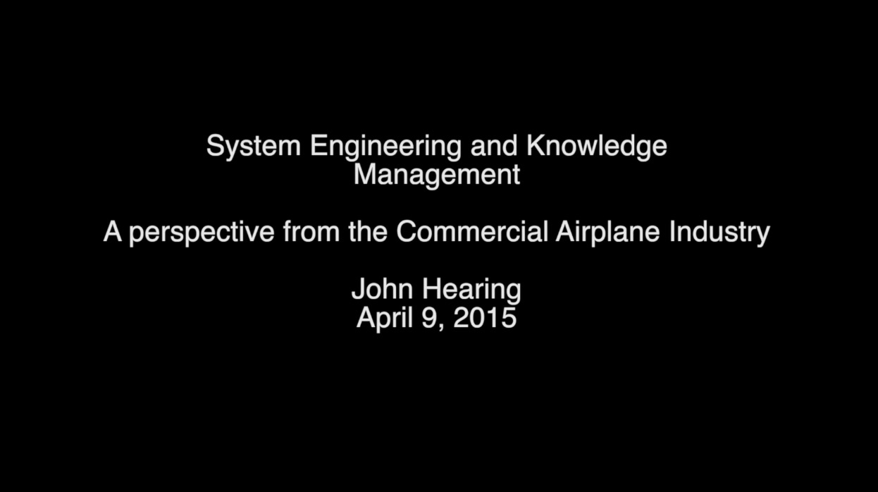 System Engineering and Knowledge Management A Perspective from the Commercial Airplane Industry