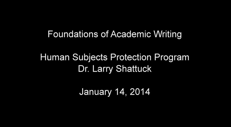 Human Subjects Protection Program Jan 2014